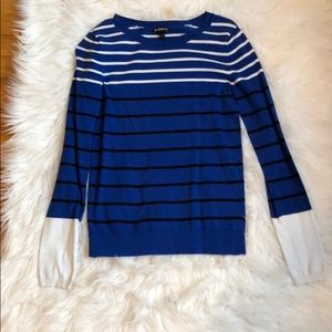 Blue, black and white striped sweater